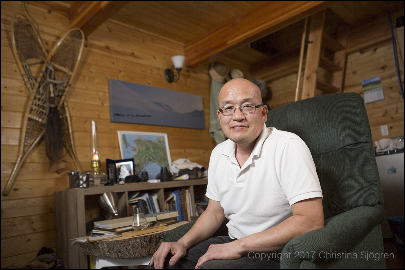Permafrost scientist Kenji Yoshikawa in his cabin outside Fairbanks.